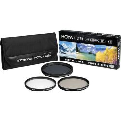 Hoya 55 mm Introductory Filter Kit - Ultraviolet (UV), Circular Polarizer, Warming Filter (Intensifier) and Nylon Pouch